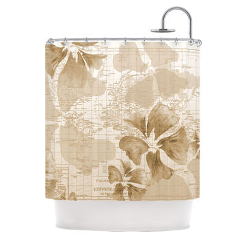 "Catherine Holcombe ""Flower Power Tan"" Brown Map Shower Curtain"