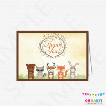 Woodland Thank You Cards, Woodland Baby Shower, Woodland Thank You, Woodland Animals Thank Yous, Woodland Printable Thank Card Download WD01