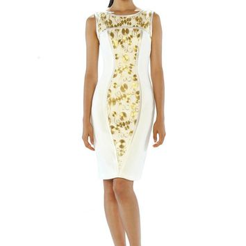 Theia - 882391 Gilded Embroidered Sheath Cocktail Dress