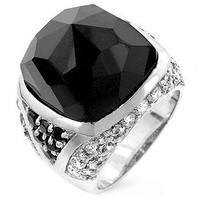 Faceted Onyx Cocktail Ring, size : 12