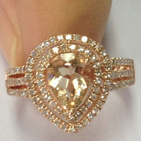 Morganite Engagement Ring 14K Rose Gold!Diamond Wedding Bridal Rings,6x8mm Pear Cut Pink Morganite,Double Halo Pave,Can make matching band
