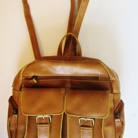 Vintage 1990's Tan Faux Leather Backpack