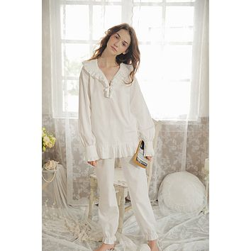 New Women's Pajamas Long Pants Set Autumn Princess Pajamas suit White Sleepwear Cotton Nightshirt Vintage Nightgown