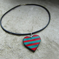 Wooden heart necklace, stripes, hand painted, christmas sale, christmas gift, gift for her, sale, retro, boho, boho style