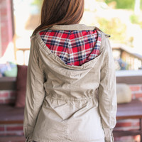Plaid Hooded Utility Jacket - Khaki