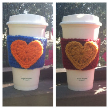UF & FSU Inspired Heart Coffee Cozies