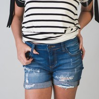 Sadie Medium Wash Distressed Denim Shorts
