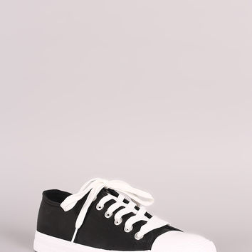 Qupid Rubber Cap Toe Lace Up Low Top Sneaker