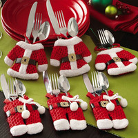 6Pcs/lot Christmas Decoration For Home Silverware Holder Santa Pockets
