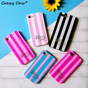 2016 Victoria/s Secret Stripe Pink Black Phone Cases For iPhone 4 4s 5 5s Se 6 6s 6 Plus 7 7Plus Soft Covers Silicone Girl Coque