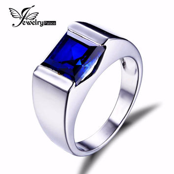 Luxury Blue Sapphire 3.4ct Engagement Men Ring Square Cut Solid 925 Sterling Sliver Fine Jewelry Hot Brand New Promotion Gift