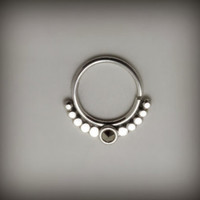 Septum 925 sterling silver with marqesitte , 18g 6m sunset modern hoop nose ring, Helix, cartilage, Tragus, Eyebrow, face piercing