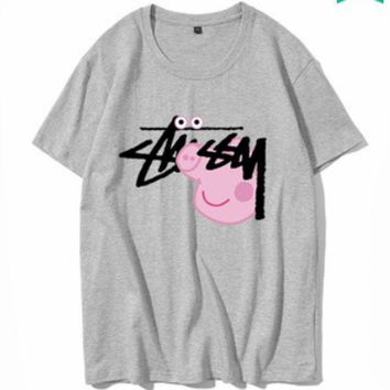 DCCKR2 STUSSY 2018 couple models men and women fashion pig page t shirt adult short sleeve Grey