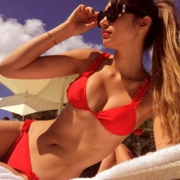 4-color hot style full-color Strapless Lace Edge Pleated Fabric Two Piece Suit bikini swimsuit.Red