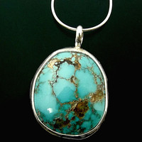 Turquoise Necklace in Sterling Silver, December Birthstone, Natural Turquoise