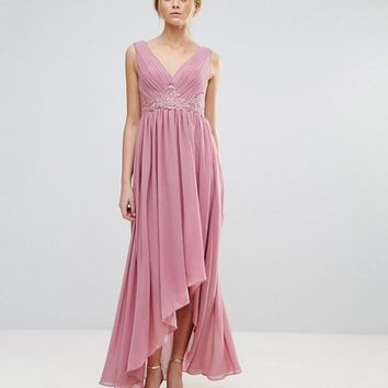 Y.A.S Maxi Dress With Embroidered Bodice And Hi Lo Hem at asos.com
