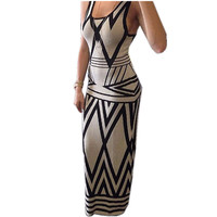 2016 New Summer Style Elegant Party Dresses Women Casual Geometric Printed Sleeveless Maxi Dress Robe Plus Size S-3XL Vestidos