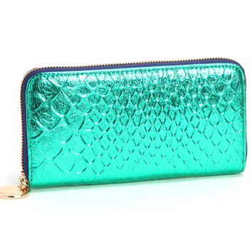 metallic foil faux snakeskin wallet in turquoise blue | deux lux: Women's handbags, wallets & accessories ♥