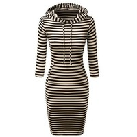 Stylish Hooded 3/4 Sleeve Striped Bodycon Hoodie Dress For Women