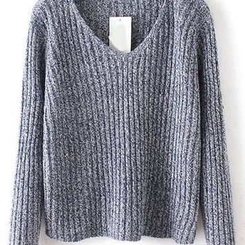 Stripe Pattern Knit Crop Sweater