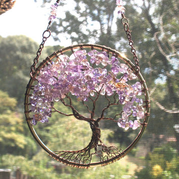 SunCatcher Tree of Life Ametrine Gemstone Swarovski Crystals Antique Copper Wire Wrapped Tree Gold Dream Catcher Window Wall Handmade