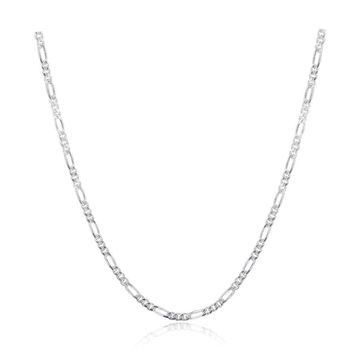 Pure 925 Sterling Silver Slim Figaro Chain Necklace Women Girl Italy