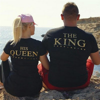 KING QUEEN Letter Print T Shirts Women Couple Clothes Lovers Valentine T shirt Men Black Summer Casual Short Sleeve O Neck Tops