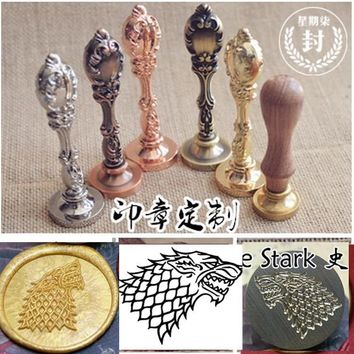 Hot Game of Thrones House of Stark wolf wax seal stamp with wood metal handle,Scrapbooking DIY Ancient Seal Retro Stamp, Vintage