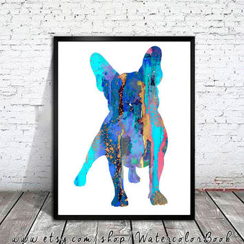 French Bulldog  Watercolor Print, French Bulldog Art, Home Decor, dog watercolor,watercolor painting, French Bulldog art,animal watercolor