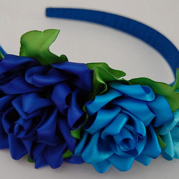 Kanzashi Flowers  , Blue  Roses Headband