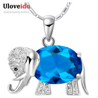Elephants Blue Red Purple Crystal Micro Pave Zirconia 925 Sterling Silver Romantic Valentine's Day Gift Ulove N742