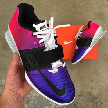 Custom Painted Ombre Gradient Nike Romaleos 3 Weightlifting Shoes