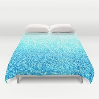 Turquoise Glitter Duvet Cover by SimpleChic