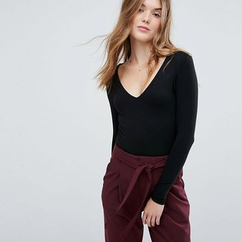 New Look V-Neck Long Sleeve Body at asos.com