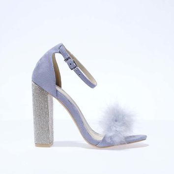 missguided lilac glitter & fur block high heels