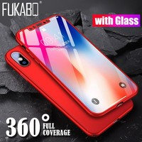 360 Protective Phone Case For iPhone 7 8 6 Plus Case Full Cover Case For iPhone X XR XS Max Cases 6 6s 7 8 Plus Cover With Glass