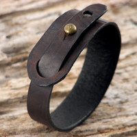 FREE SHIPPING. Hand made dark brown leather bracelet