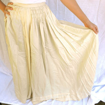1910s Victorian Long Ivory Silk Bustle Skirt Antique //  Wedding Steampunk // Small Vintage
