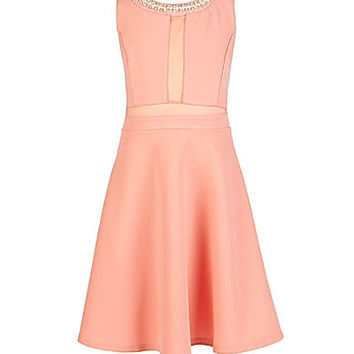 Monteau Girl 7-16 Jeweled-Neck Skater Dress
