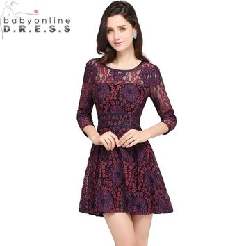 Vestido de Festa Curto Elegant Burgundy Lace Short Homecoming Dresses 2018 Cheap Three Quarter Sleeve Short 8th Grade Dresses