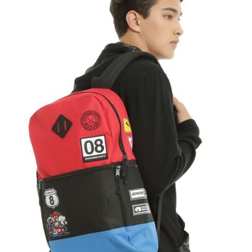 Licensed cool Mario Kart 8 Racer Patch Flat Front Backpack School Book Bag Super Nintendo NEW