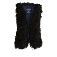 AEO Women's Shaggy Faux Fur Vest (Black)