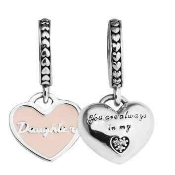 Fits for Pandora Bracelets Mother & Daughter Hearts Silver Beads with Soft Pink Enamel