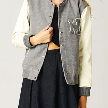 H Gray Varsity Jacket with Faux Leather Sleeve