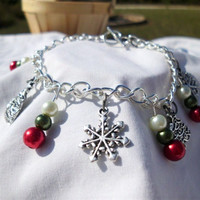 "Christmas Charm Bracelet, Silver Trees and Snowflakes ""Ivy"""