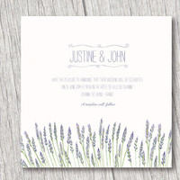 Lavenders printable invitation, for weddings, graduation, baby shower PDF file