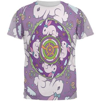 CREYCY8 Mandala Trippy Stained Glass Easter Bunny All Over Mens T Shirt