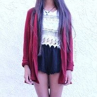 Maroon Cardigan from Avess Apparel