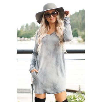 Kassie Tie Dye Dress (Heather Grey)