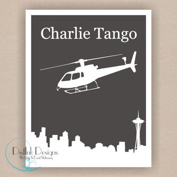 Fifty Shades of Grey, Charlie Tango Helicopter Digital 8 x 10 Print, Seattle Skyline